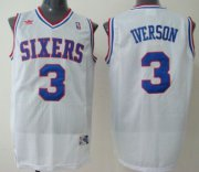 Wholesale Cheap Philadelphia Sixers #3 Allen Iverson White Swingman Throwback Jersey