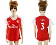 Wholesale Cheap Women's Arsenal #3 Gibbs Home Soccer Club Jersey
