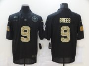 Wholesale Cheap Men's New Orleans Saints #9 Drew Brees Black Camo 2020 Salute To Service Stitched NFL Nike Limited Jersey
