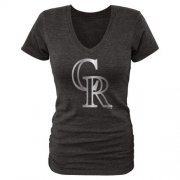 Wholesale Cheap Women's Colorado Rockies Fanatics Apparel Platinum Collection V-Neck Tri-Blend T-Shirt Black