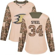 Wholesale Cheap Adidas Ducks #34 Sam Steel Camo Authentic 2017 Veterans Day Women's Stitched NHL Jersey