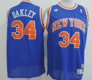 Wholesale Cheap New York Knicks #34 Charles Oakley Blue Swingman Throwback Jersey