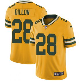 Wholesale Cheap Nike Packers #28 AJ Dillon Yellow Men\'s Stitched NFL Limited Rush Jersey