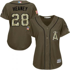 Wholesale Angels #28 Andrew Heaney Green Salute to Service Women\'s Stitched Baseball Jersey