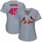 Wholesale Cheap Cardinals #45 Bob Gibson Grey Road Women's Stitched MLB Jersey