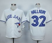 Wholesale Cheap Blue Jays #32 Roy Halladay White Cool Base Stitched MLB Jersey