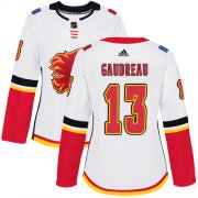 Wholesale Cheap Adidas Flames #13 Johnny Gaudreau White Road Authentic Women's Stitched NHL Jersey