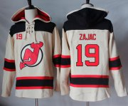 Wholesale Cheap Devils #19 Travis Zajac Cream Sawyer Hooded Sweatshirt Stitched NHL Jersey