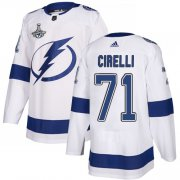 Cheap Adidas Lightning #71 Anthony Cirelli White Road Authentic Youth 2020 Stanley Cup Champions Stitched NHL Jersey