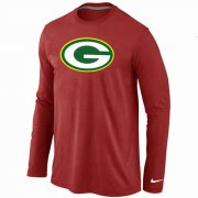 Wholesale Cheap Nike Green Bay Packers Logo Long Sleeve T-Shirt Red