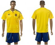 Wholesale Cheap Ukraine Blank Home Soccer Country Jersey