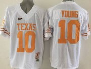 Wholesale Cheap Men's Texas Longhorns #10 Vince Young Burnt White Throwback NCAA Football Jersey