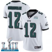 Wholesale Cheap Nike Eagles #12 Randall Cunningham White Super Bowl LII Youth Stitched NFL Vapor Untouchable Limited Jersey