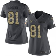 Wholesale Cheap Nike Raiders #81 Tim Brown Black Women's Stitched NFL Limited 2016 Salute to Service Jersey