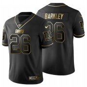 Wholesale Cheap New York Giants #26 Saquon Barkley Men's Nike Black Golden Limited NFL 100 Jersey