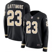 Wholesale Cheap Nike Saints #23 Marshon Lattimore Black Team Color Women's Stitched NFL Limited Therma Long Sleeve Jersey