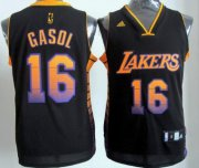 Wholesale Cheap Los Angeles Lakers #16 Paul Gaslo 2012 Vibe Black Fashion Jersey