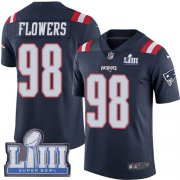 Wholesale Cheap Nike Patriots #98 Trey Flowers Navy Blue Super Bowl LIII Bound Youth Stitched NFL Limited Rush Jersey