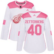 Wholesale Cheap Adidas Red Wings #40 Henrik Zetterberg White/Pink Authentic Fashion Women's Stitched NHL Jersey