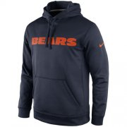 Wholesale Cheap Chicago Bears Nike KO Wordmark Performance Hoodie Navy Blue