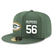 Wholesale Cheap Green Bay Packers #56 Julius Peppers Snapback Cap NFL Player Green with White Number Stitched Hat
