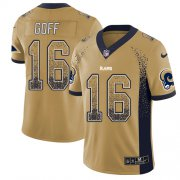 Wholesale Cheap Nike Rams #16 Jared Goff Gold Men's Stitched NFL Limited Rush Drift Fashion Jersey