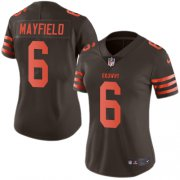 Wholesale Cheap Nike Browns #6 Baker Mayfield Brown Women's Stitched NFL Limited Rush Jersey
