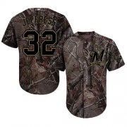 Wholesale Cheap Brewers #32 Jeremy Jeffress Camo Realtree Collection Cool Base Stitched MLB Jersey
