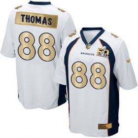Wholesale Cheap Nike Broncos #88 Demaryius Thomas White Men\'s Stitched NFL Game Super Bowl 50 Collection Jersey