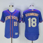 Wholesale Cheap Mets #18 Darryl Strawberry Blue(Grey NO.) Flexbase Authentic Collection Stitched MLB Jersey