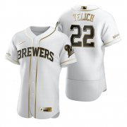 Wholesale Cheap Milwaukee Brewers #22 Christian Yelich White Nike Men's Authentic Golden Edition MLB Jersey