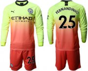 Wholesale Cheap Manchester City #25 Fernandinho Third Long Sleeves Soccer Club Jersey