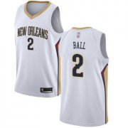 Wholesale Cheap Pelicans #2 Lonzo Ball White Basketball Swingman Association Edition Jersey