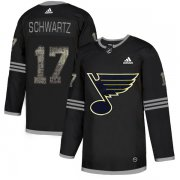 Wholesale Cheap Adidas Blues #17 Jaden Schwartz Black Authentic Classic Stitched NHL Jersey
