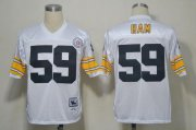 Wholesale Cheap Mitchell And Ness Steelers #59 Jack Ham White Stitched NFL Jersey