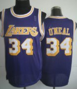 Wholesale Cheap Los Angeles Lakers #34 Shaquille O'neal Purple Swingman Throwback Jersey