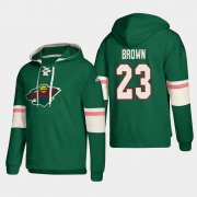 Wholesale Cheap Minnesota Wild #23 J.t Brown Green adidas Lace-Up Pullover Hoodie