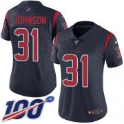 Wholesale Cheap Nike Texans #31 David Johnson Navy Blue Women's Stitched NFL Limited Rush 100th Season Jersey