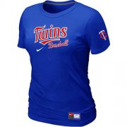 Wholesale Cheap Women's Minnesota Twins Nike Short Sleeve Practice MLB T-Shirt Blue
