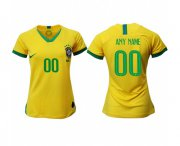 Wholesale Cheap Women's Brazil Personalized Home Soccer Country Jersey