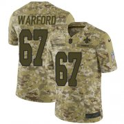 Wholesale Cheap Nike Saints #67 Larry Warford Camo Youth Stitched NFL Limited 2018 Salute to Service Jersey