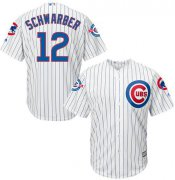 Wholesale Cheap Cubs #12 Kyle Schwarber White Strip New Cool Base with 100 Years at Wrigley Field Commemorative Patch Stitched MLB Jersey