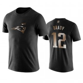Wholesale Cheap Patriots #12 Tom Brady Black NFL Black Golden 100th Season T-Shirts