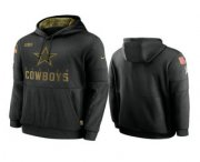 Wholesale Cheap Men's Dallas Cowboys Black 2020 Salute to Service Sideline Performance Pullover Hoodie