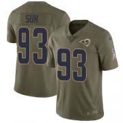 Wholesale Cheap Nike Rams #93 Ndamukong Suh Olive Youth Stitched NFL Limited 2017 Salute to Service Jersey