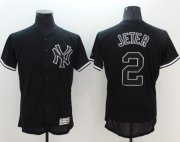 Wholesale Cheap Yankees #2 Derek Jeter Black Fashion Flexbase Authentic Collection Stitched MLB Jersey
