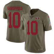 Wholesale Cheap Nike 49ers #10 Jimmy Garoppolo Olive Youth Stitched NFL Limited 2017 Salute to Service Jersey