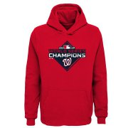 Wholesale Cheap Washington Nationals Majestic Youth 2019 World Series Champions Logo Pullover Hoodie Red