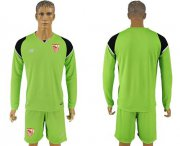 Wholesale Cheap Sevilla Blank Green Goalkeeper Long Sleeves Soccer Club Jersey