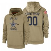 Wholesale Cheap Dallas Cowboys Custom Nike Tan 2019 Salute To Service Name & Number Sideline Therma Pullover Hoodie